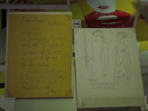briefje Denys Finch Haton, tekening van Karen Blixen